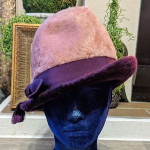 Vintage Fedora Fuzzy Pink & Purple.Made in Germany
